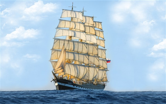 Wallpaper Sailing ship, sea, blue sky