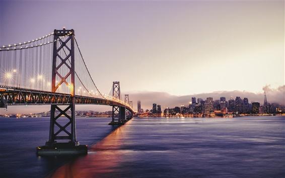 壁紙 サンフランシスコの美しい風景、夕暮れ、ベイブリッジ、ライト、高層ビル