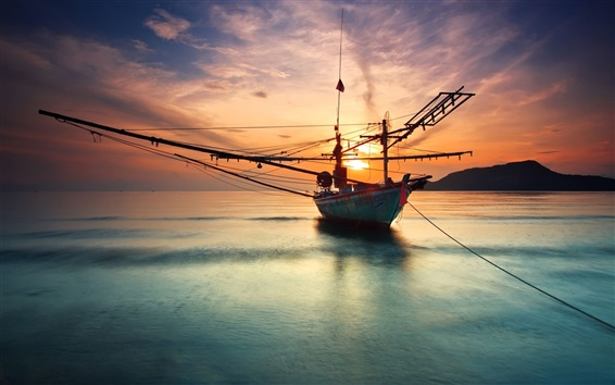 Wallpaper Ship at the calm sea, sunset, water reflection