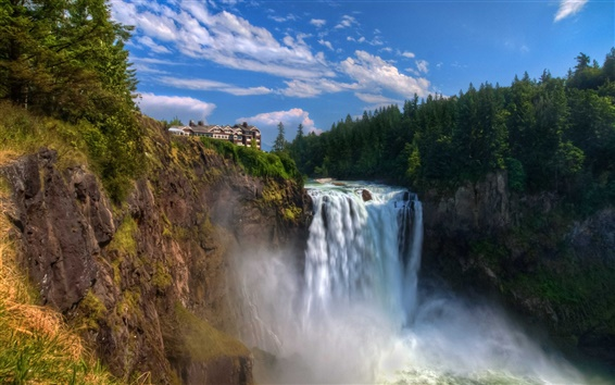 Wallpaper Snoqualmie Falls, waterfall, cliff, house
