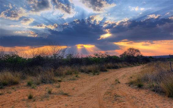 Wallpaper South Africa, Namibia, sunset landscape, clouds, desert