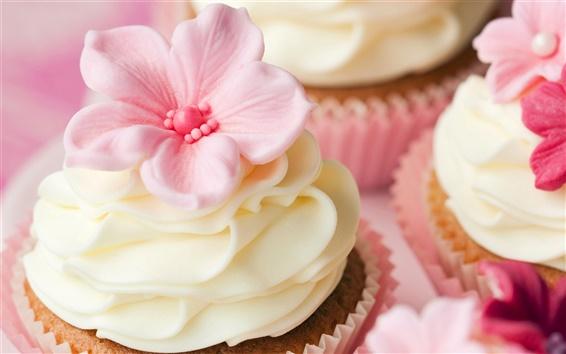 Papéis de Parede Bolos doces, creme, flores decoração, sobremesa, pastelaria