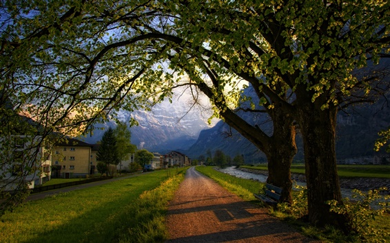 Wallpaper Switzerland, town, spring, trees, road, bench, houses, mountains