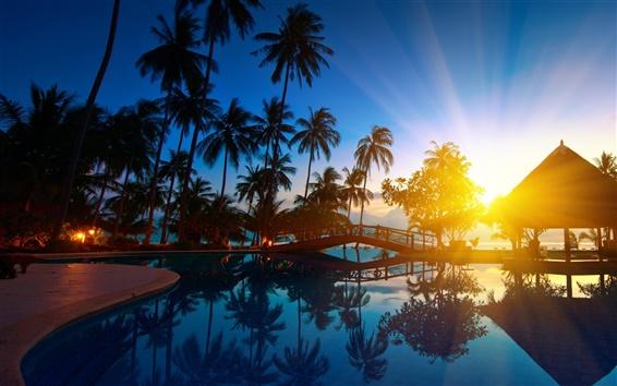 Wallpaper Thailand paradise scenery, seawater, sunrise, bridge, house, sunlight