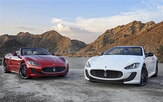 Wallpaper Two Maserati GranCabrio supercars