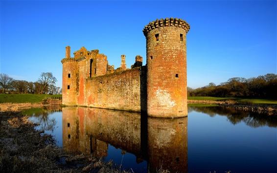 Обои Великобритания, Шотландия, замок, озеро, отражение воды