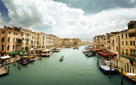 Wallpaper Venice, Italy, Canal Grande, water, boats, people, houses, cloudy sky