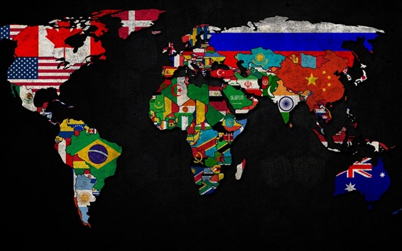Wallpaper World map with flag logo