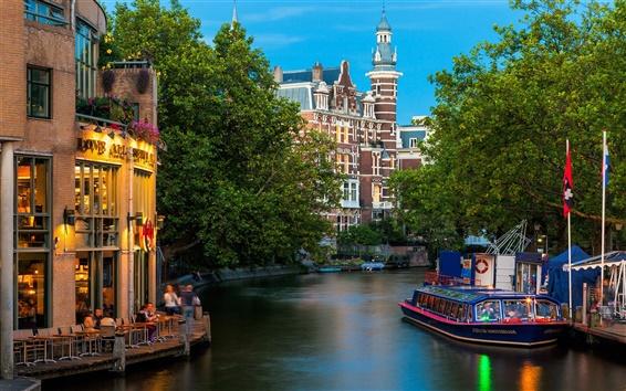 Wallpaper Amsterdam city, Nederland, river, buildings