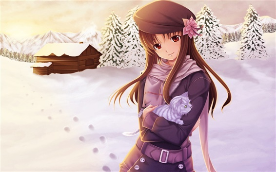 Wallpaper Anime girl in the snow winter