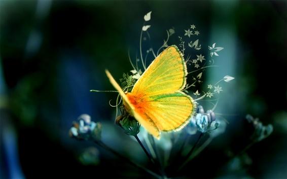 Wallpaper Art design yellow butterfly