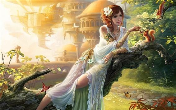 Wallpaper Art fantasy girl, feeding squirrel, garden, butterfly, walkway