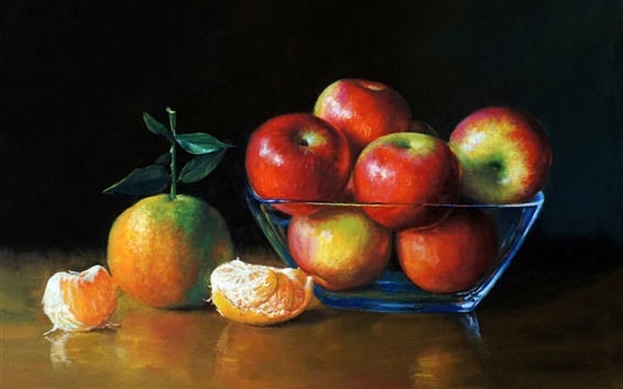 Wallpaper Art painting, apples and oranges