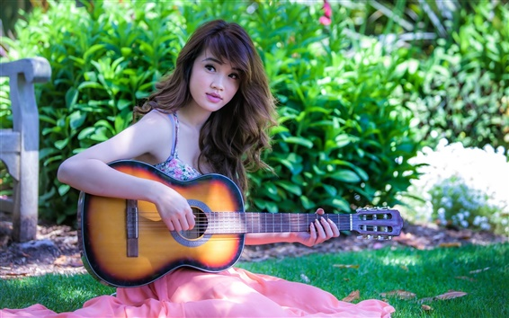 Wallpaper Asia music girl play guitar