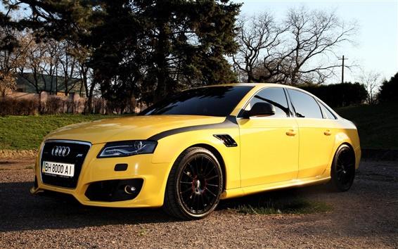 Wallpaper Audi A4 yellow color car