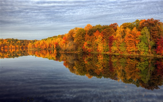 Wallpaper Autumn lake nature scenery, trees, sky, water reflection