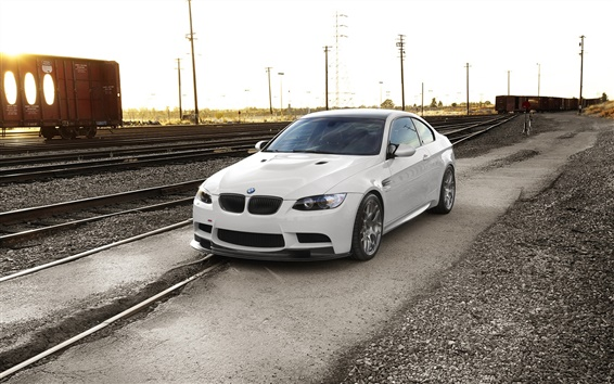 Wallpaper BMW M3 E92, sunset, railway