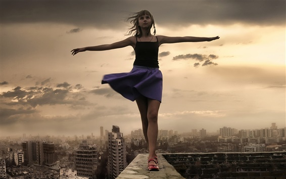 Wallpaper Beautiful girl at city roof, stretch hands, wind, clouds