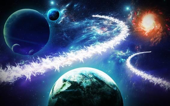 Wallpaper Beautiful planets, stars, galaxies