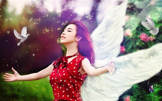 Wallpaper Beautiful red dress girl, bird, wings