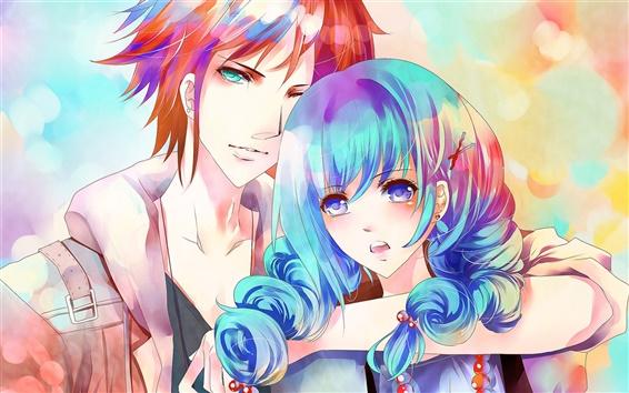 Wallpaper Blue hair anime girl with a boy