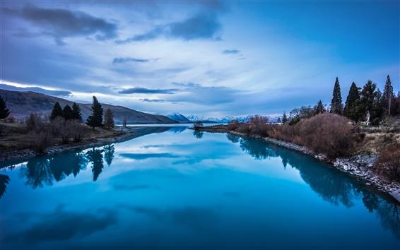 Wallpaper Blue nature landscape, mountains, lake reflection