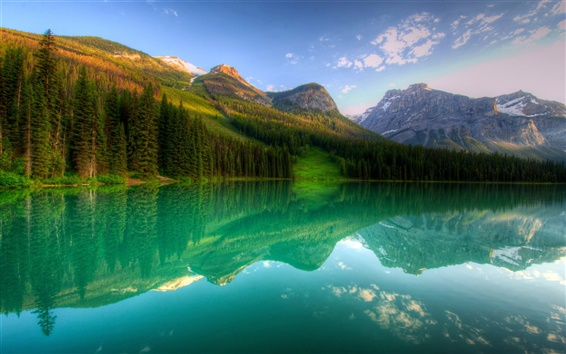 Hintergrundbilder Kanada, Yoho, See, Wald, Berge, Bäume, Reflexion