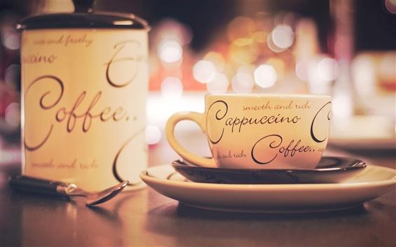 Fond d'écran Cappuccino café, tasse, soucoupe, assiette, une cuillère