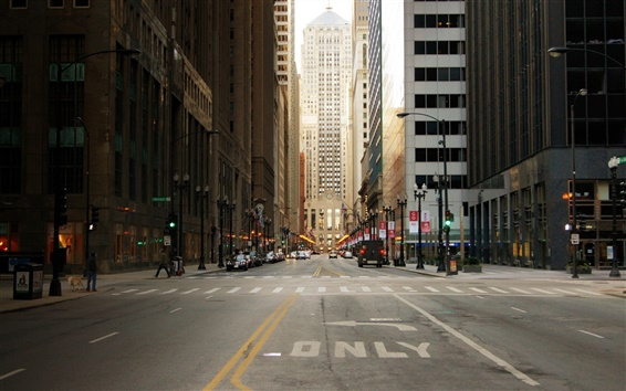 Wallpaper City street of Chicago in USA, skyscrapers