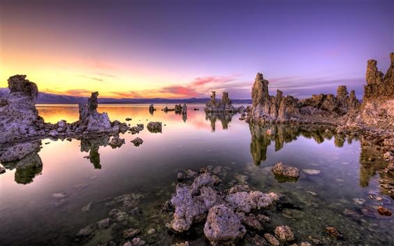 Fond d'écran Côte coucher du soleil paysage, la mer Morte, les rochers