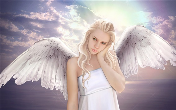 Wallpaper Fantasy angel girl, wings, sky, white