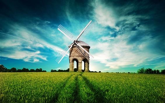 Papéis de Parede Paisagem da fantasia, moinho de vento, campos, céu azul