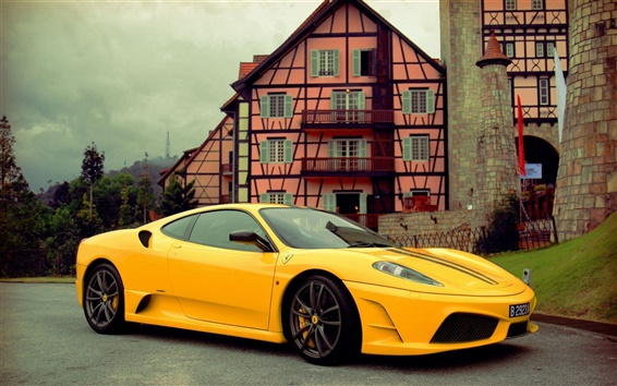 Wallpaper Ferrari supercar stopped at the road