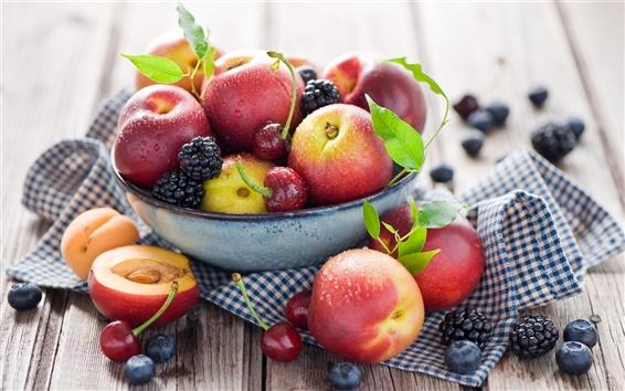 Wallpaper Fruit close-up, peaches, nectarines, cherries, blueberries