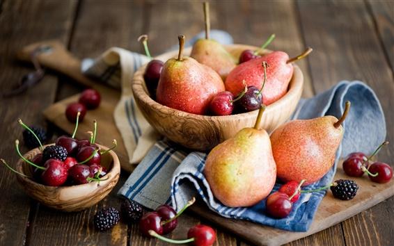 Обои Фрукты Фотография, груши, вишни, ежевики, деревянный стол