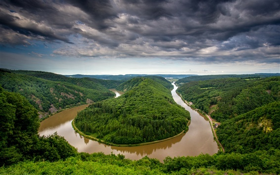 Wallpaper Germany, Saarland, river bend, water after rain, trees, hills
