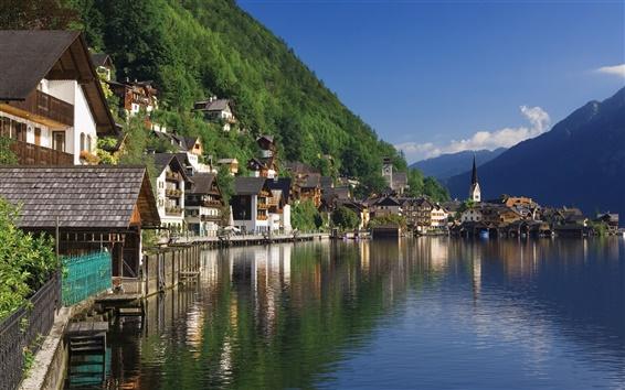 Papéis de Parede Hallstatt, Salzkammergut, cenário Áustria, rio, casas, montanhas