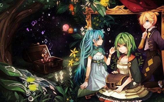 Fond d'écran Hatsune Miku, trois filles d'anime