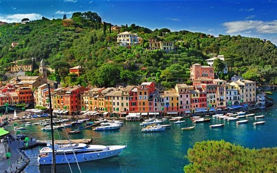 Wallpaper Italy, Portofino, sea, boats, houses, buildings, city