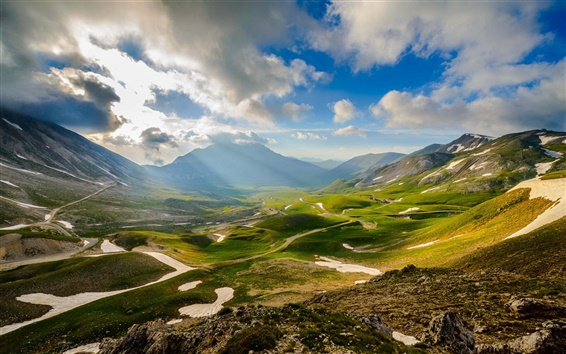 Wallpaper Italy scenery, valley, mountains, sky, clouds