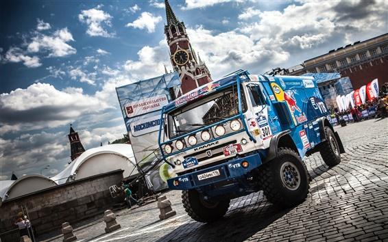 Wallpaper Kamaz truck, Dakar Rally, Moscow, Sky Clouds