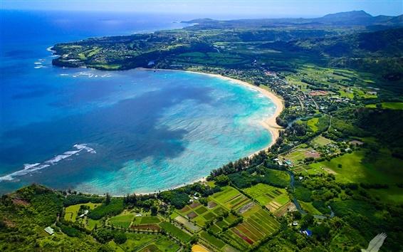 Wallpaper Kauai Island, Hawaii, Hanalei Bay, beach, sea coast