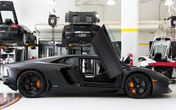 Wallpaper Lamborghini Aventador LP700-4 black color