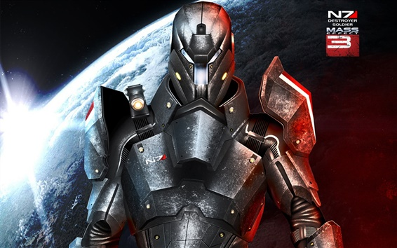 Wallpaper Mass Effect 3, N7, metal armor warrior