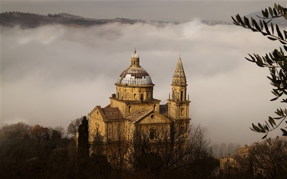 Wallpaper Montepulciano, Toscana, Italy, church, fog, trees