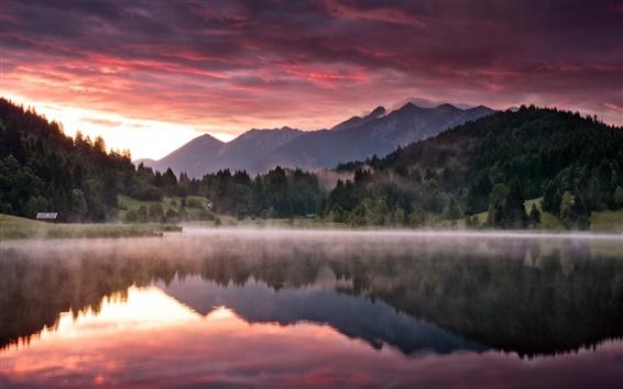 Обои Природа пейзаж, горы, лес, озеро, утренняя заря, туман