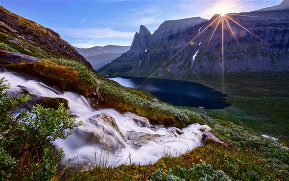 Wallpaper Nature mountains, sun rays, slope, streams