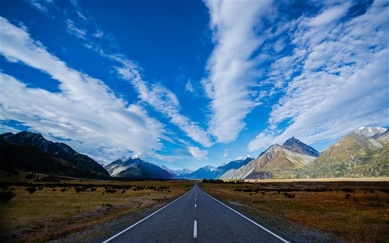 Wallpaper New Zealand, highway, road, mountains, blue sky, white clouds