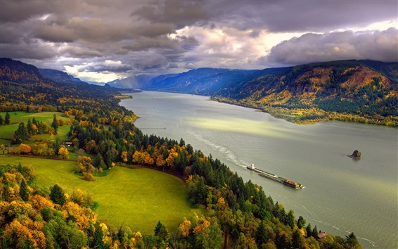 Wallpaper North America, Columbia, river, autumn, trees, sky, clouds, coast