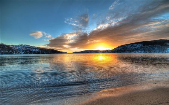 Wallpaper Norway scenery, lake, sunset, mountains